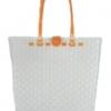 ตะกร้าสานพลาสติก กระเป๋าสานพลาสติก AU - สายส้ม กว้าง 10 cm. ยาว 36cm. สูง 32 cm.