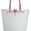 ตะกร้าสานพลาสติก กระเป๋าสานพลาสติก AU - สายชมพู กว้าง 10 cm. ยาว 36cm. สูง 32 cm.
