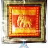 ปลอกหมอนช้าง แบบ 17 สีส้มพื้นทอง ช้างปักลายนูน