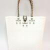ตะกร้าสานพลาสติก กระเป๋าสานพลาสติก AU - สายเงิน กว้าง 10 cm. ยาว 36cm. สูง 32 cm.