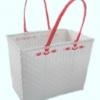 ตะกร้าสานพลาสติก กระเป๋าสานพลาสติก JLM - สายแดง กว้าง 22 cm. ยาว 35 cm. สูง 27 cm.