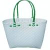 ตะกร้าสานพลาสติก กระเป๋าสานพลาสติก ATS - สายเขียวเข้ม กว้าง 14 cm. ยาว 32 cm. สูง 20 cm.