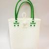 ตะกร้าสานพลาสติก กระเป๋าสานพลาสติก AU - สายเขียวเข้ม กว้าง 10 cm. ยาว 36cm. สูง 32 cm.
