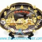 ของพรีเมี่ยม ของที่ระลึกไทย จานโชว์ แบบที่ 13 Size M สีดำเข้มลายทอง