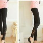 กางเกงเล็คกิ้งคนท้องเอวปรับระดับ L0219สีดำขายาว