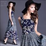 M5804200 / S M L XL 2XL / 100% silk 2015 Fashion dress พรีออเดอร์เดรสแฟชั่นงานเกรดยุโรป สวยดูดีมีสไตล์ นางแบบใส่ชุดจริง เป๊ะเว่อร์!