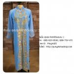 ชุดเวียดนามหญิงชั้นสูง ลายหงส์มังกร (ส่งฟรี EMS) - สีฟ้า