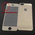 Sale! มีตำหนิ ฟิล์มกระจก IPhone 5 / 5S ลาย Louis Vuitton หน้า - หลัง สีทอง