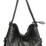 กระเป๋าสะพายใบใหญ่ หนัง PU ยีห้อน้องแมว สีดำ #M02-097 **พร้อมส่ง**