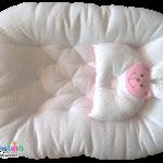 เบาะนอนเด็กอ่อนรังผึ้งชมพู Cotton 100%