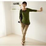 กางเกงคนท้องใส่ทำงาน L0145 สีครีม