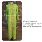 ชุดเวียดนามหญิงชั้นสูง ลายหงส์มังกร (ส่งฟรี EMS) - สีเขียวอ่อน