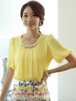 (สีเหลือง) เสื้อทำงานแฟชั่นเกาหลีออฟฟิศ ผ้าชีฟอง คอกลม แขนสั้น คอจับจีบประดับมุก (ใหม่ พร้อมส่ง) ร้าน LadyShop4U