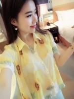 (สีเหลือง) เสื้อทำงานแฟชั่นเกาหลีออฟฟิศ เสื้อทำงานคอปก แขนสั้น ลายดอกสีเหลือง กระดุมผ่าหน้า มีเสื้อซับใน (ใหม่ พร้อมส่ง) ร้าน LadyShop4U