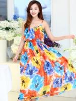 (สี้โทนส้มฟ้า) ไซส์ L ชุดเดรสแซกยาวแฟชั่นเกาหลีชุดไปเที่ยวทะเลสวยๆ สีส้มฟ้า พิมพ์ลายดอกไม้ สายเดี่ยวปรับได้ ช่วงอกเป็นระบาย เม็กซี่เดรส เอวยืด ผ้าชีฟอง(Maxi Dress) (ใหม่ พร้อมส่ง) ร้าน Ladyshop4u