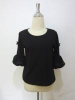 (สีดำ)เสื้อทำงานแฟชั่นออฟฟิศ เสื้อใสไปงานศพ คอกลม แขนสามส่วน ผ่า ติดโบว์ ส่วนปลายเป็นผ้าชีฟอง ผ้าเนื้อนิ่ม ใส่สบาย (ใหม่ พร้อมส่ง) ร้าน LadyShop4U