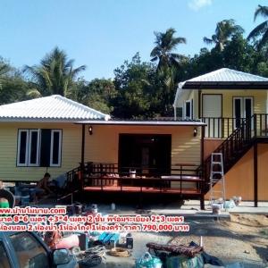 บ้านแฝดชั้นล่างขนาด 11*6 เมตร ระเบียง 2*4 เมตร ชั้นบนขนาด 3*4 เมตร ระเบียง 2*3 เมตร