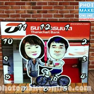 018-วาดการ์ตูนล้อเลียน 2 คน 8x8 นิ้ว กรอบลอย ใส่นาฬิกา