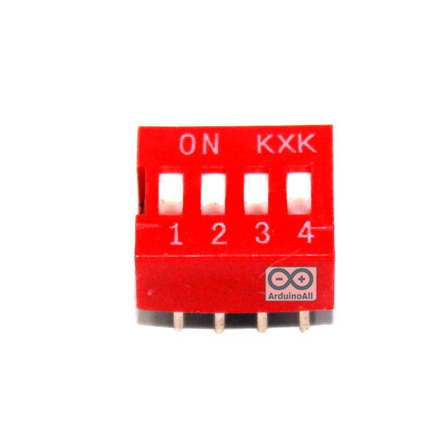 DIP switch DIP 2.54mm สวิตช์แบบ DIP ระยะห่างระหว่างขา 2.54mm ขนาด 4 ช่อง