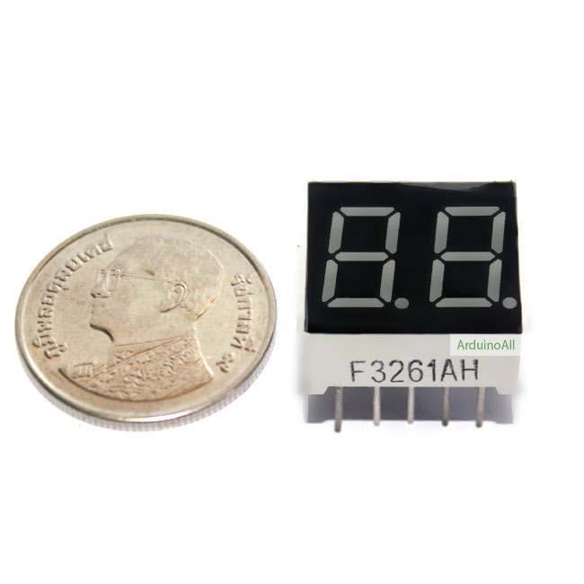 "7 Segment 0.36"" Common Cathode 2digit Red ไฟ 7 segment 0.36"" 2 หลัก สีแดงแบบไฟลบบวกร่วม 3261AH"