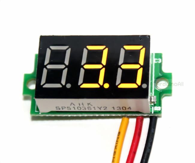 """ดิจิตอล โวลต์มิเตอร์ 0 ถึง100 โวลต์ จอขนาด 0.36"""" สีเหลือง Mini 3 Digital 0.36'' LED DC 0 ถึง 100 V YELLOW Volt Voltage Meter Voltmeter 3-24V Power Supply"""