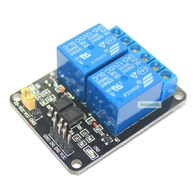 โมดูล รีเลย์ 2-Channel 12V relay 2 ช่อง isolation control Relay Module Shield Active Low