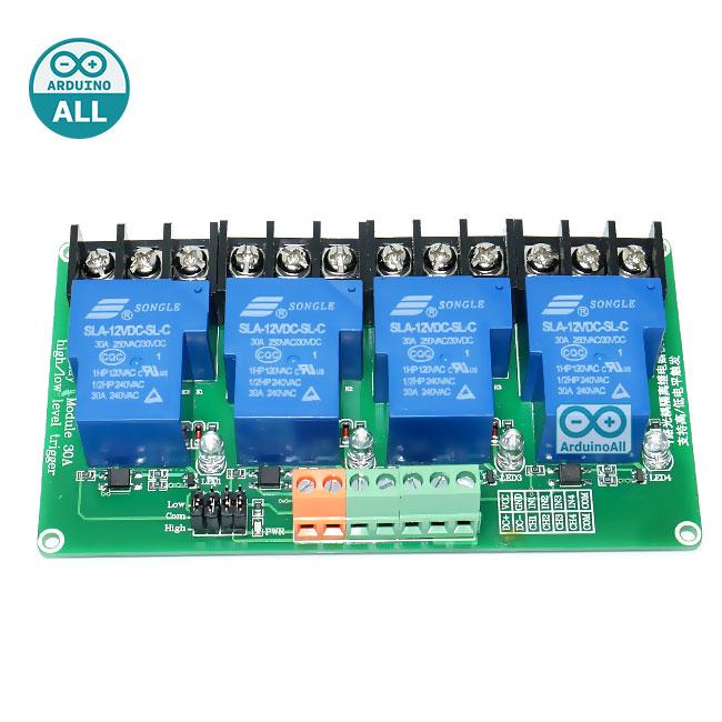 Relay 12V Module 4 Channel 30A Isolation High And Low Trigger 240V/30A โมดูล รีเลย์ 12v 4 ช่อง 240V 30A