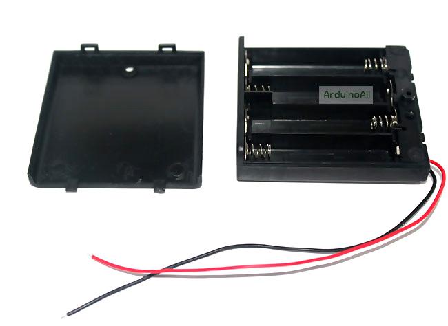 Battery Holder Box รางถ่าน AA 4 ก้อน แบบมีฝาปิดพร้อมสวิตช์ Battery Holder Box 4x AA with Power Switch
