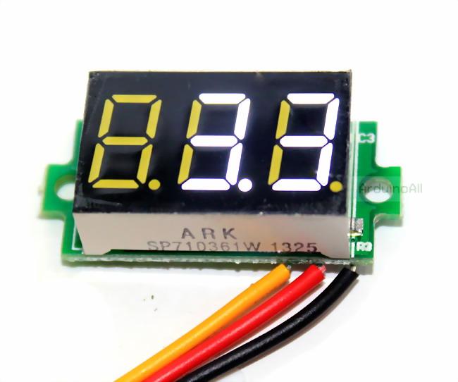"""ดิจิตอล โวลต์มิเตอร์ 0 ถึง100 โวลต์ จอขนาด 0.36"""" สีขาว Mini 3 Digital 0.36'' LED DC 0 ถึง 100 V Volt Voltage Meter Valtmeter 3-28V Power Supply"""
