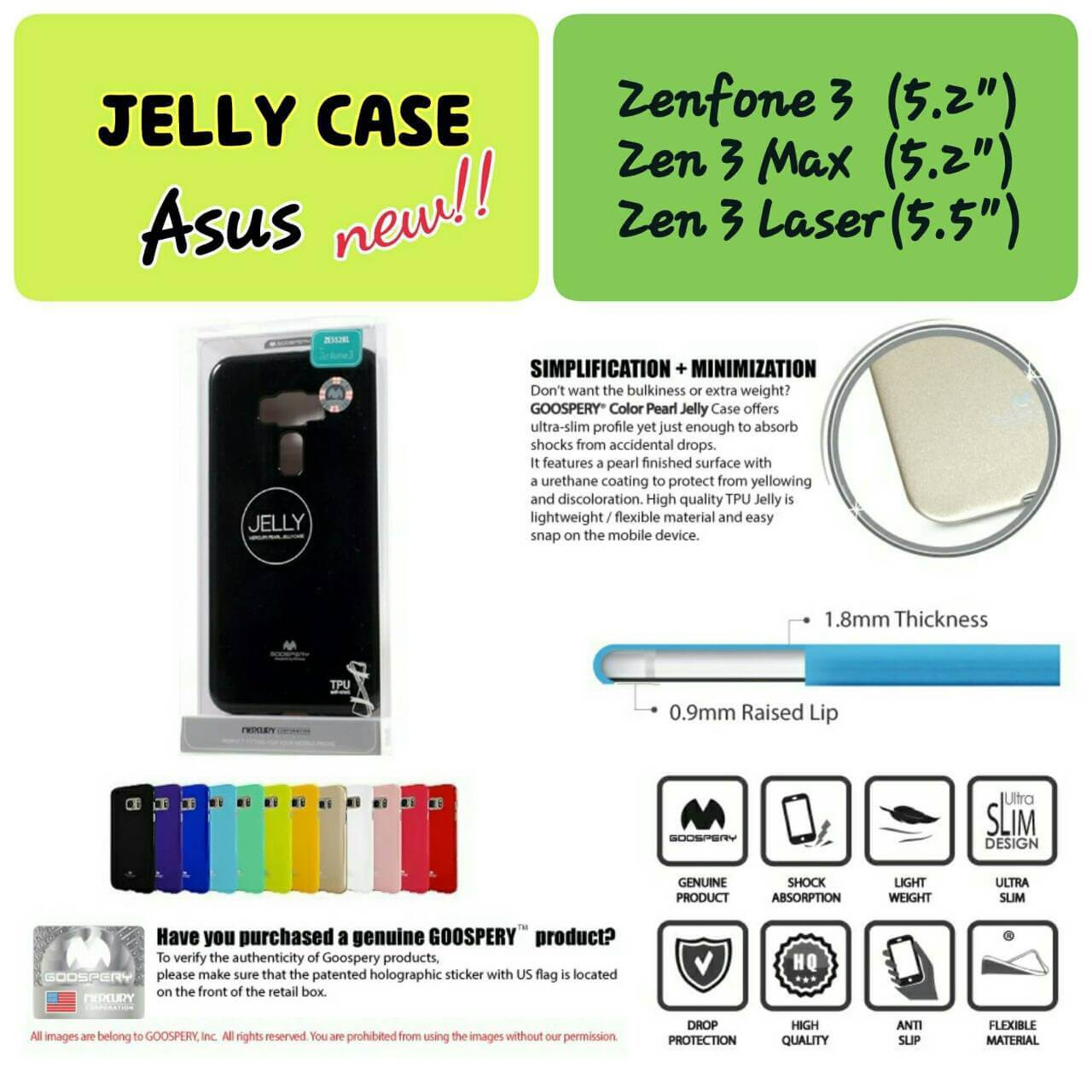 "Asus ZenFone 3 (5.2"") - เคส TPU Mercury Jelly Case (GOOSPERY) แท้"