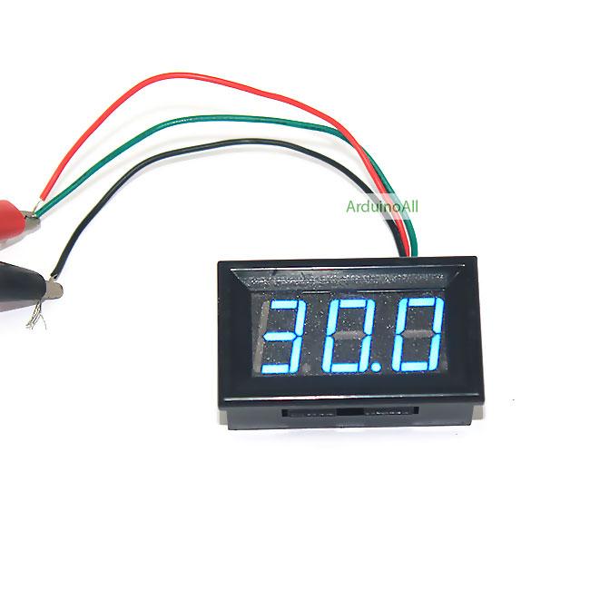 โมดูล ดิจิตอลโวลต์มิเตอร์ 0-99.9 โวลต์ Digital DC Voltmeter สีน้ำเงิน