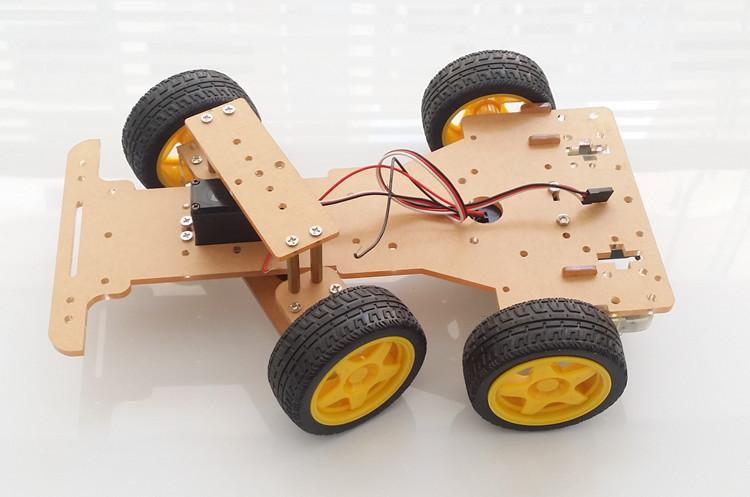โครงหุ่นยนต์รถ 4 ล้อ ระบบเลี้ยว servo Smart Chassis รถ Smart car แบบ 4 ล้อพร้อม Servo