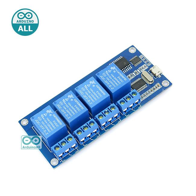 USB Relay 5v 4 channel usb control usb relay บอร์ดรีเลย์ 5V 4 ช่อง ควบคุมด้วย Arduino / VB / C# ทางช่อง USB