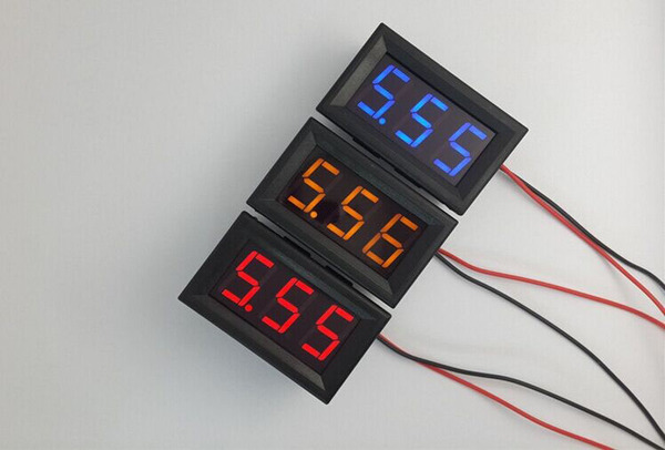 LED Voltage Meter Mini Digital Voltmeter DC 5-28V สีน้ำเงิน