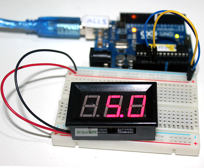 LED Voltage Meter Mini Digital Voltmeter DC 5-28V สีแดง