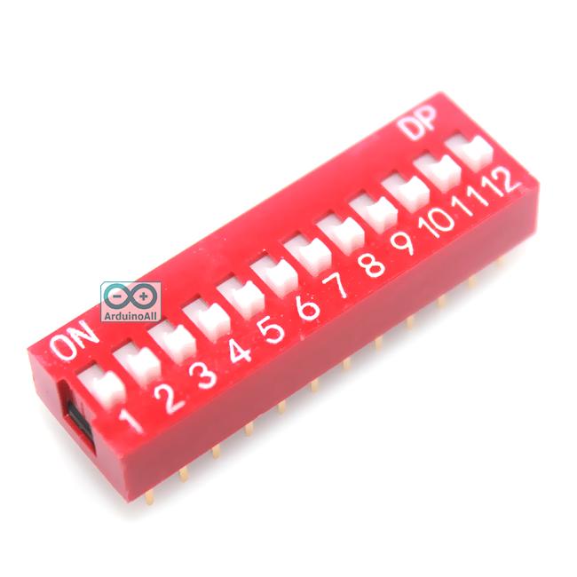 DIP 12 switch DIP 2.54mm สวิตช์แบบ DIP ระยะห่างระหว่างขา 2.54mm ขนาด 12 ช่อง