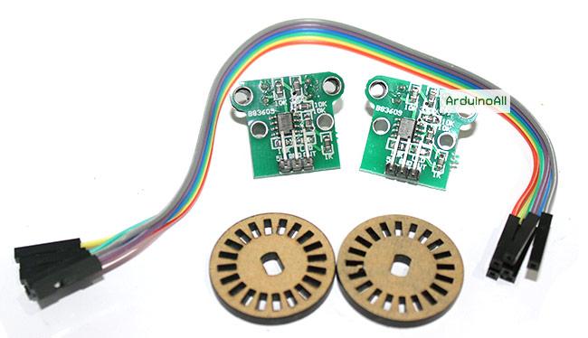 HC-020K Dual module encoder counter Optical Wheel Encoder for Smart Car พร้อมสายไฟ