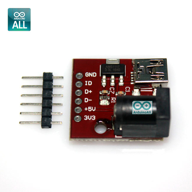 MINI USB 5V socket USB power breakout jack 5.5x2.1 AMS1117 3.3V DC power