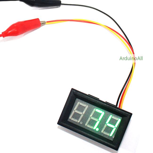 โมดูล ดิจิตอลโวลต์มิเตอร์ 0-99.9 โวลต์ Digital DC Voltmeter สีเขียว