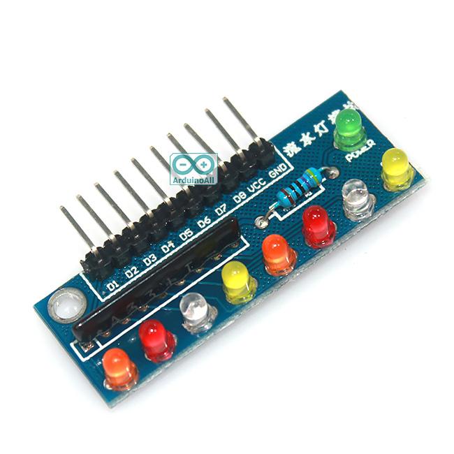บอร์ดทดลอง LED 8 ดวง แบบหลายสี สำหรับ Arduino
