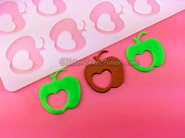 พิมพ์ช็อคโกแลต / กัมเพส รูปแอปเปิ้ลมีหัวใจ