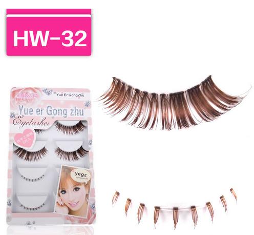 HW-32# ขนตาเอ็นใส สีน้ำตาล (ขายปลีก) เเพ็คละ 5 คู่ บนล่าง