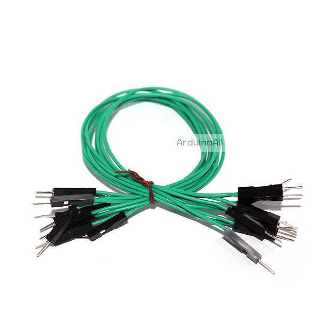 สายไฟจัมเปอร์ 20cm แบบเดียว ผู้-ผู้ สีเขียว จำนวน 10 เส้น
