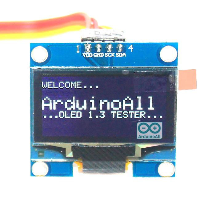 """จอแสดงผล OLED 128x64 แบบ I2C ขนาด 1.3"""" สีขาว OLED Display I2C Module 1.3"""" for Arduino"""