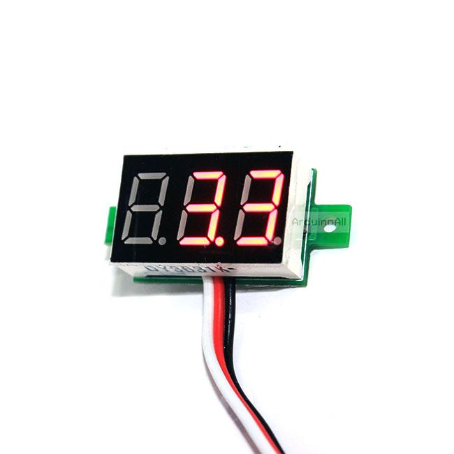 """ดิจิตอล โวลต์มิเตอร์ 0 ถึง100 โวลต์ จอขนาด 0.36"""" สีแดง Mini 3 Digital 0.36'' LED DC 0 ถึง 100 V RED Volt Voltage Mater Voltmeter 3-24V Power Supply"""