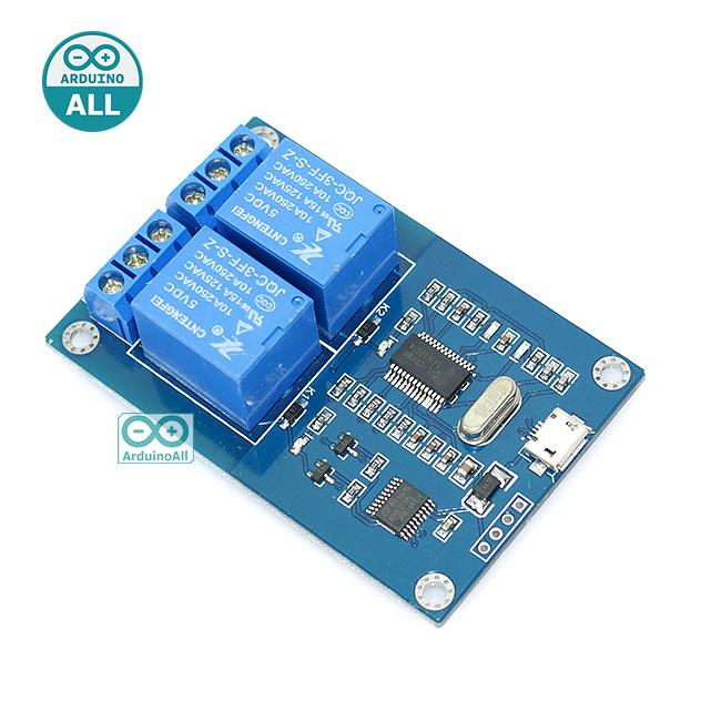 USB Relay 5v 2 channel usb control usb relay บอร์ดรีเลย์ 5V 2 ช่อง ควบคุมด้วย Arduino / VB / C# ทางช่อง USB