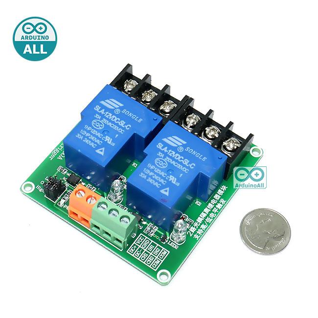 Relay 12V Module 2 Channel Isolation High And Low Trigger 240V/30A โมดูล รีเลย์ 12v 2 ช่อง 240V 30A
