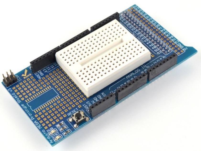 Arduino mega 2560 ProtoShield board พร้อม Mini Breadboard