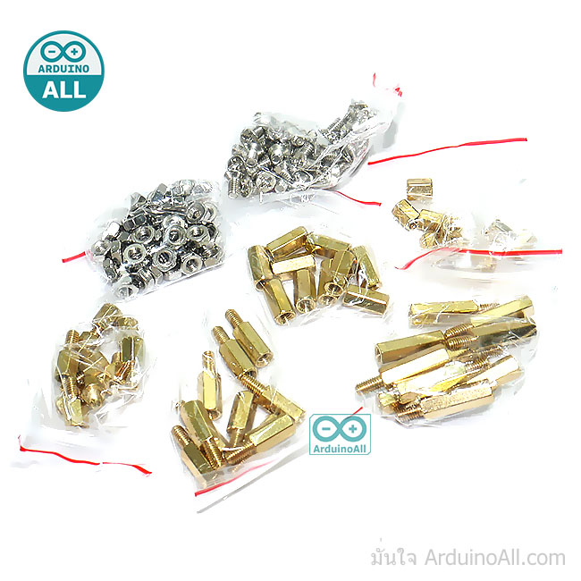 ชุดน็อต+สกรู Pack Nut screw copper column 6+6 10+6 15+6 M3 nut 3x6 screw 6MM hollow 10MM hollow