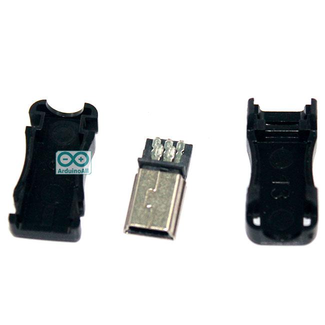 Mini USB male 5PF with shell male MINIUSB plug (shell width 9MM)